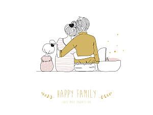 Affichette Lovely family 2 enfants (baby) filles