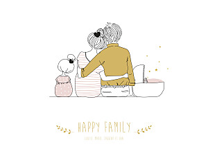 Affichette jaune lovely family 2 enfants (baby) filles