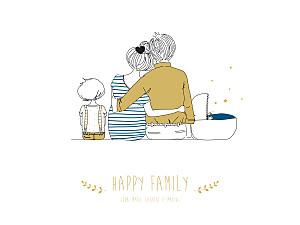 Affichette bleu lovely family 2 enfants (baby) garçons