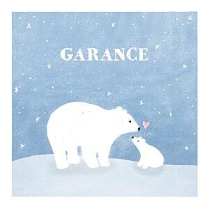 Faire-part de naissance automne-hiver ours polaire 4 photos bleu