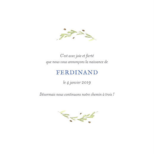 Faire-part de naissance Renard aquarelle photo bleu