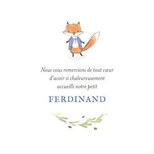 Carte de remerciement Petit renard aquarelle photo bleu