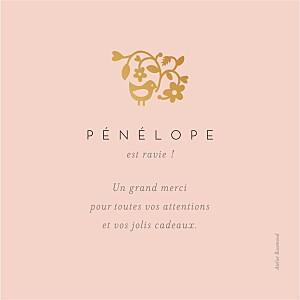 Carte de remerciement Petite comptine photo (dorure) rose