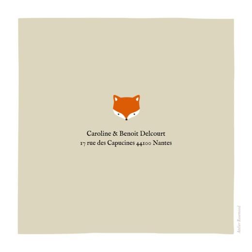 Faire-part de naissance Renard beige & orange