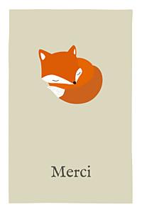 Carte de remerciement beige renard beige & orange