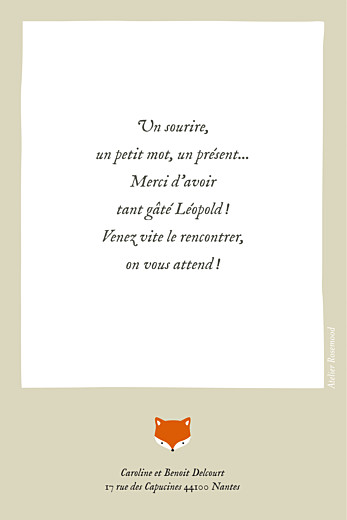 Carte de remerciement Renard beige & orange - Page 2