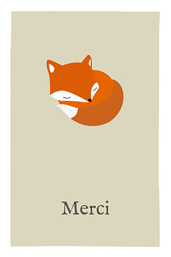 Carte de remerciement Renard 1 photo beige & orange