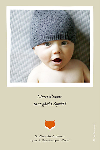 Carte de remerciement Renard 1 photo beige & orange - Page 2