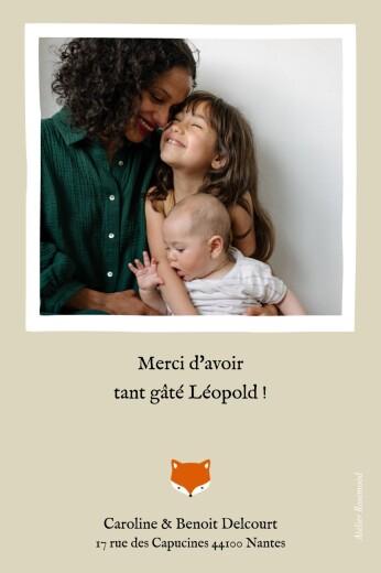 Carte de remerciement Renard 1 photo beige & orange