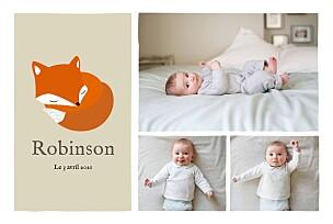 Faire-part de naissance beige renard 3 photos rv beige & orange