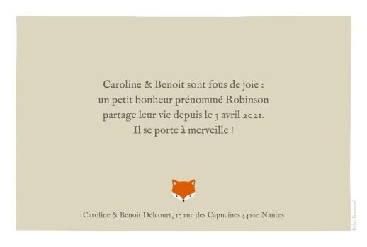 Faire-part de naissance Renard 3 photos rv beige & orange - Page 2