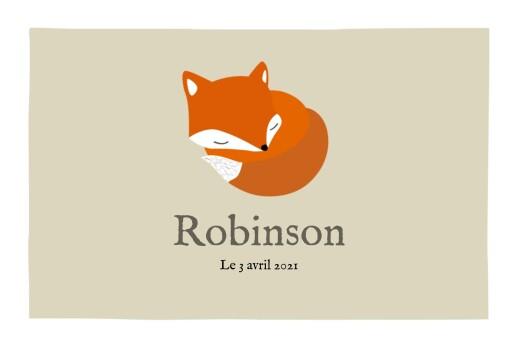Faire-part de naissance Renard 5 photos 4p  beige & orange