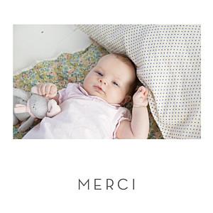 Carte de remerciement avec photo merci élégant cœur (dorure) blanc