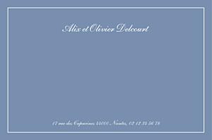 Carte de correspondance classique chic liseré bleu