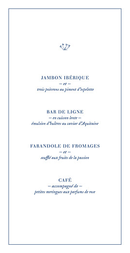 Menu de mariage Nature chic (4 pages) dorure bleu - Page 3