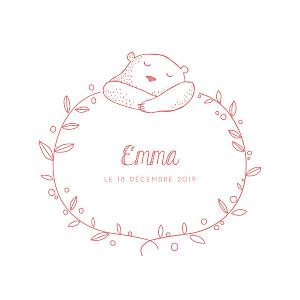 Faire-part de naissance rose petit ours 3 photos blanc rose