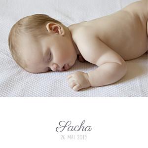 Faire-part de naissance garçon ruban étoilé 2 photos (dorure) gris