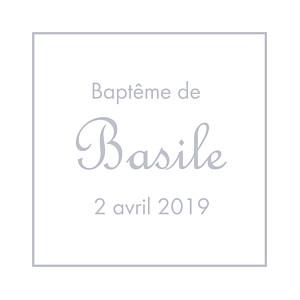 Etiquette de baptême Classique liseré gris
