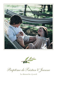 Faire-part de baptême olivier blanc