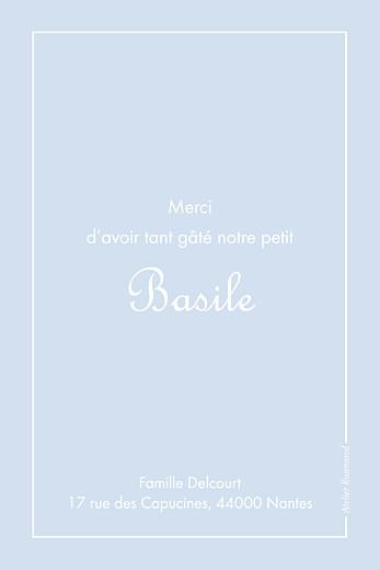 Carte de remerciement Merci classique liseré portrait bleu layette