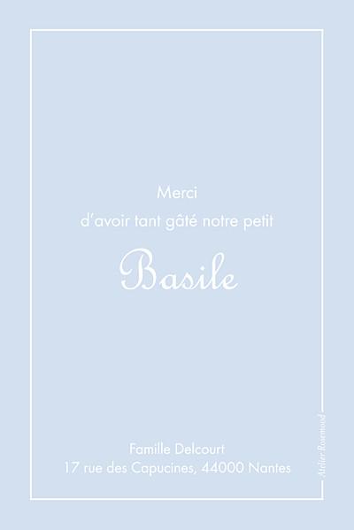 Carte de remerciement Merci classique liseré portrait bleu layette finition