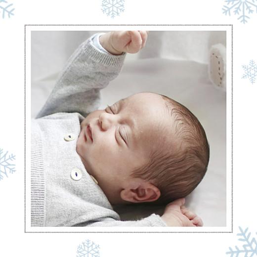 Faire-part de naissance Premiers flocons (triptyque) bleu clair