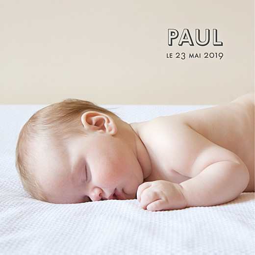 Faire-part de naissance The photo ! (carrée) blanc