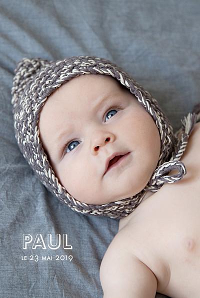 Faire-part de naissance The photo ! portrait blanc finition