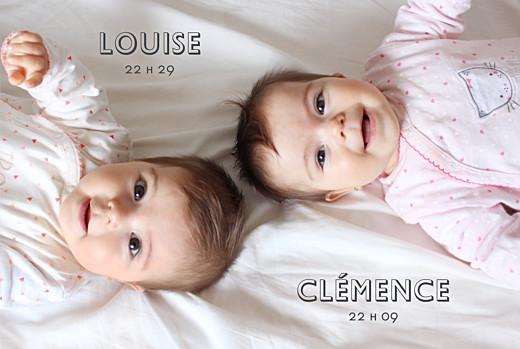 Faire-part de naissance Jumeaux the photo! paysage blanc