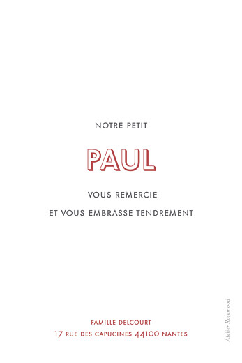Carte de remerciement Mini the photo portrait blanc