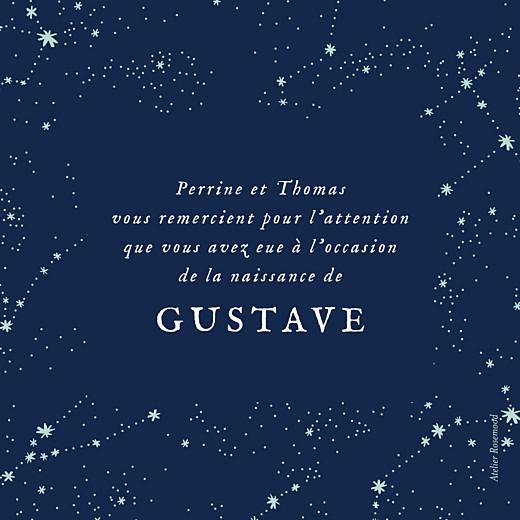 Carte de remerciement Petit univers photo bleu nuit