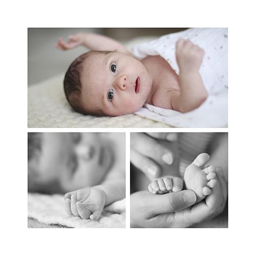 Faire-part de naissance Petites montagnes 3 photos bleu