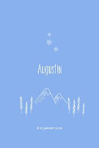 Faire-part de naissance avec photo petites montagnes photo rv bleu
