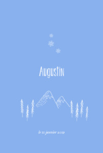 Faire-part de naissance Petites montagnes photo rv bleu