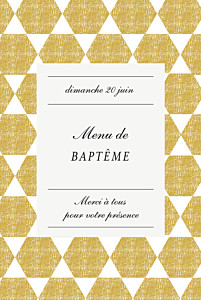 Menu de baptême Toile de lin jaune