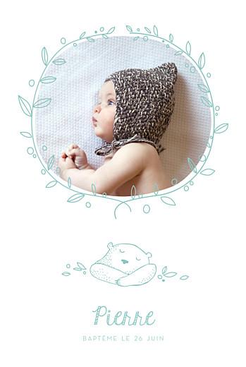 Faire-part de baptême Petit ours photo vert d'eau