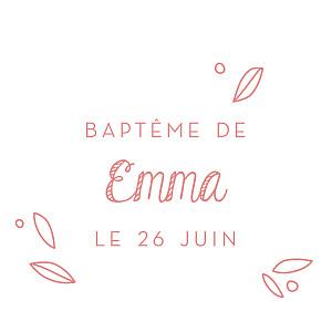 Etiquette de baptême Petit ours rose