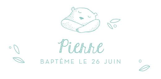 Marque-place Baptême Petit ours vert d'eau - Page 4