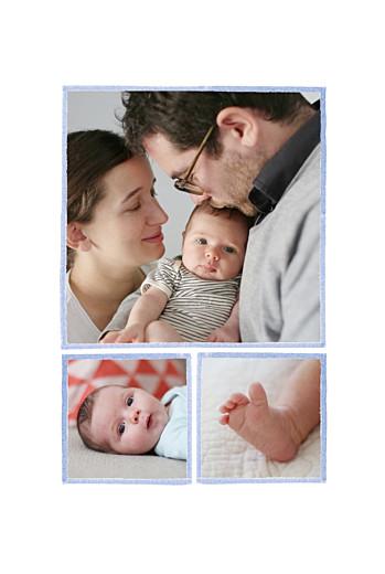 Faire-part de naissance Renard aquarelle 3 photos bleu