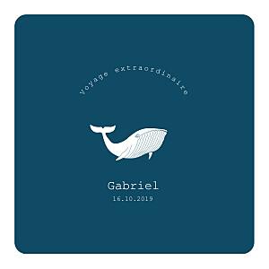 Faire-part de naissance marin baleine extraordinaire bleu