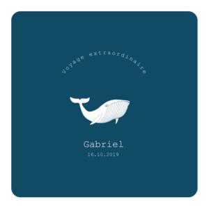 Faire-part de naissance Baleine extraordinaire bleu