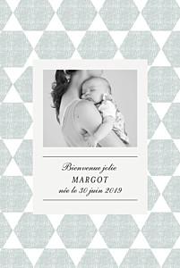 Faire-part de naissance avec photo toile de lin portrait bleu