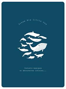 Affiche classique baleine extraordinaire bleu