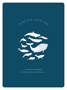 Affichette classique baleine extraordinaire bleu
