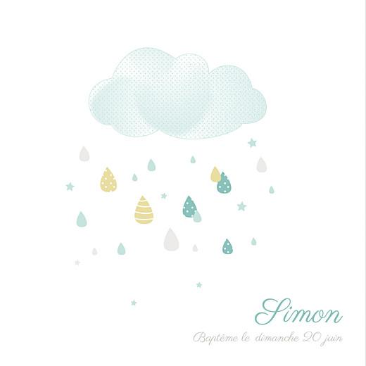 Faire-part de baptême Tombe la pluie bleu
