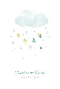 Faire-part de baptême photos tombe la pluie photo bleu