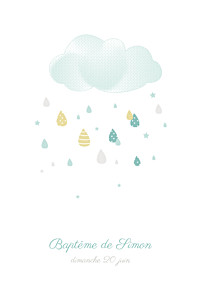 Faire-part de baptême Tombe la pluie photo bleu