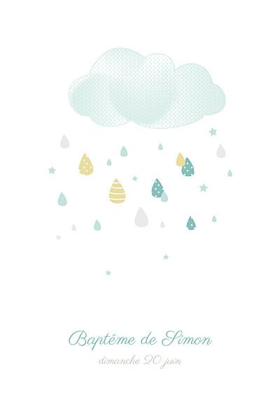 Faire-part de baptême Tombe la pluie photo bleu finition