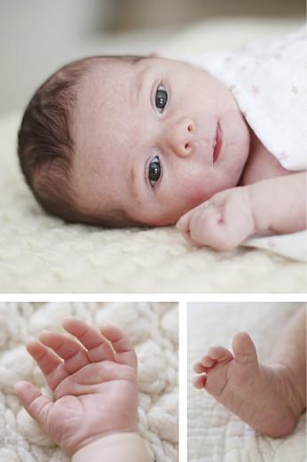 Faire-part de naissance Médaillon fleuri photo bleu - Page 2