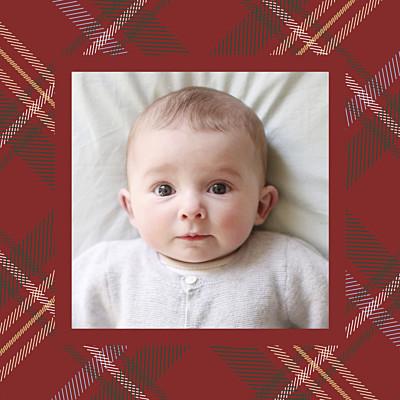 Carte de remerciement Petit tissu écossais photo rouge finition
